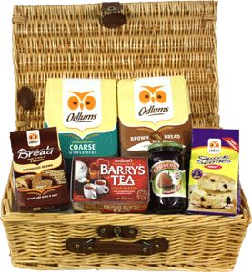 Food Ireland The Bakers Basket $49.99 - Instead of Flowers why not send Flour! This basket includes the following: Odlums Brown Bread Mix 2kg, Odlums Wholemeal Coarse Flour 2kg, Odlums Quick Bread Irish Farmhouse Brown Bread 1lb, Chivers Strawberry Jam 454g, Barrys Gold Blend 40 Tea Bags and Odlums Quick Scones - Fruit.