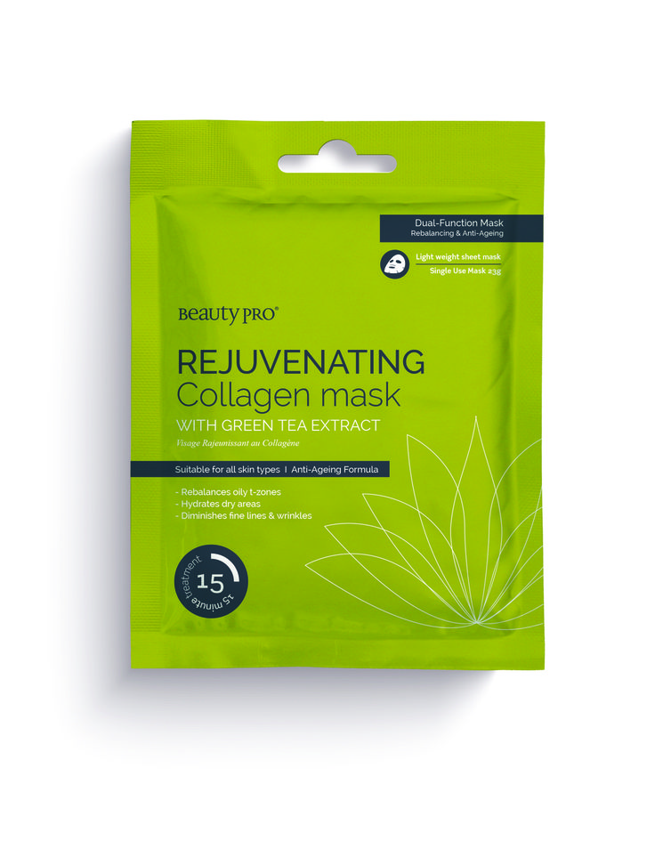 BeautyPro Collagen Sheet Masks Brightening Formula with Green Tea