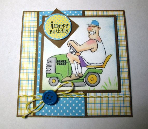 Happy Birthday Lawn Ranger Handmade Card by LoveInBloomCreations, $3.25