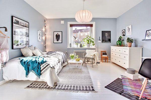 Scandinavian baby blue & white master bedroom