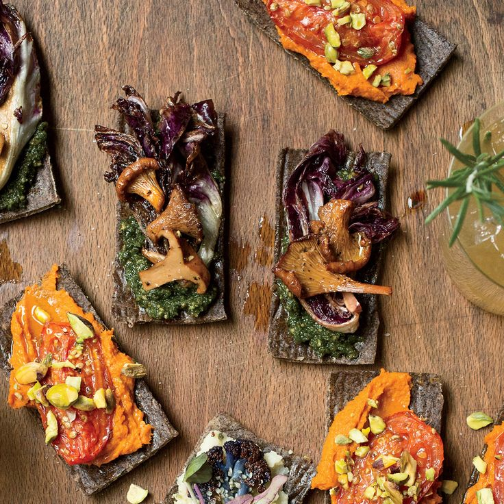 Food & Wine's Mushroom Flatbreads with Winter Pesto are the perfect vegetarian appetizer.