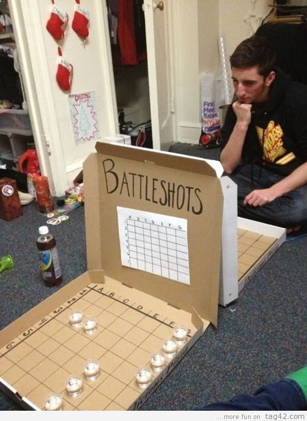 Battleshots... This is hysterical! If my college girls are reading this, that is Sprite in the shot glasses! LOL!