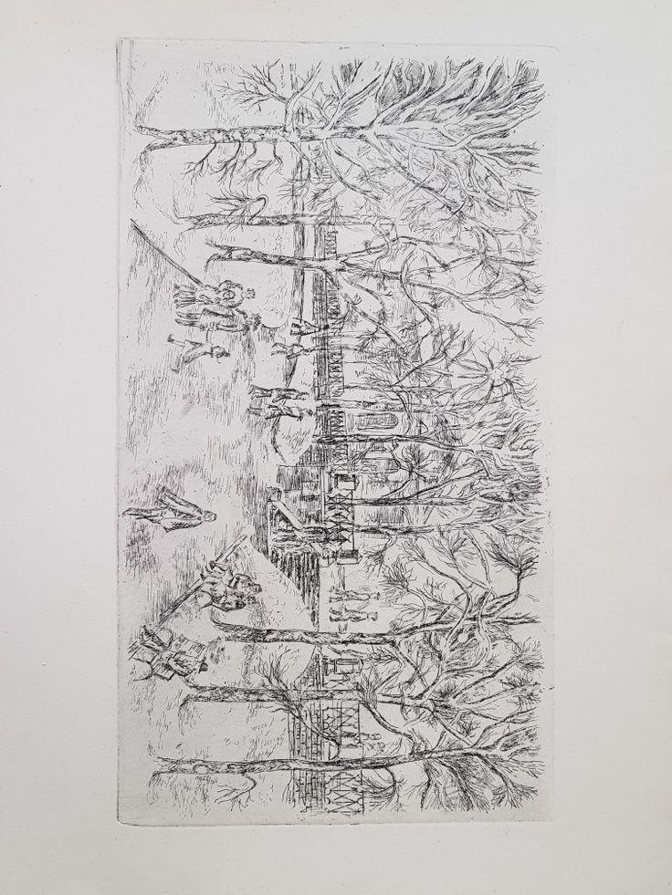 "А. Алымов. ""Александровский сад"". Офорт. 1983. 28х49,5"