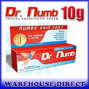 DEEP NUMBING CREAM 10gram, For Tattoos, body piercing, body waxing, bikini waxing, laser hair removal. by DR Numb, deep numbing cream,10gram. $6.74. Tattoo Numbing Cream 3Yr Shelf Life. Non-Oily Water Based Rapid Absorption Into Skin. Bikini Wax, Piercing, Brazilian Wax, Needle Injection. Quality Topical Anesthetic Numbing Cream. Dr Numb 10gram is a maximum strength anesthetic tattoo cream. Super Numbs activates fast and can be used for  tattooing, body piercing, body wa...