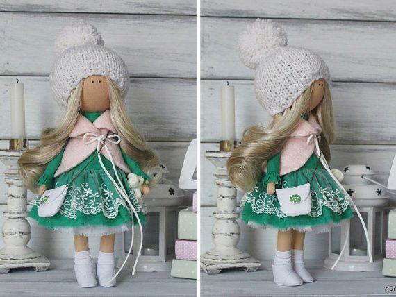 Soft doll Decor doll Green doll Baby doll by AnnKirillartPlace