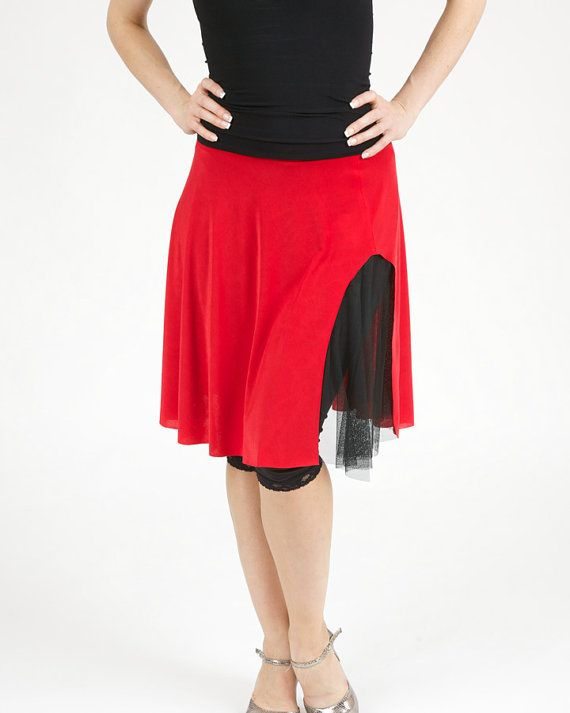 Double layered skirt with side slit Tango in Red by TheGiftofDance, $101.99