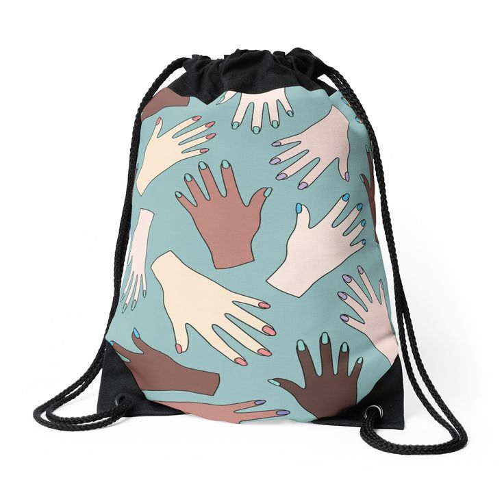 Nail Expert Studio - Colorful Manicured Hands Pattern Drawstring Bag