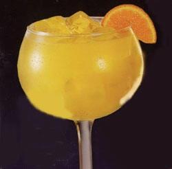 Jamaican Cowboy Margarita: peach schnapps, coconut rum, tequila, and pineapple juice. My favorite summer drink!