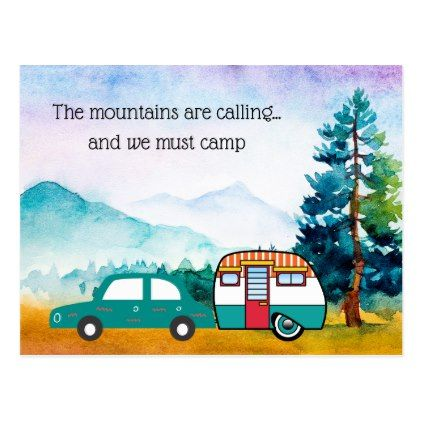 Watercolor Mountains Car and Camper Address Change Postcard - postcard post card postcards unique diy cyo customize personalize