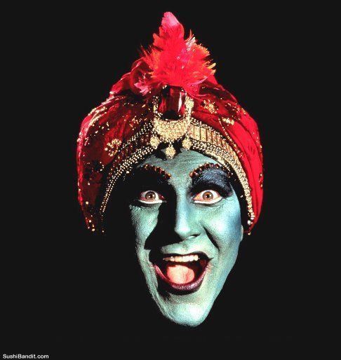 Jambi, Pee-Wee's Playhouse [Pee-Wee Herman] cool and freaky genie fortune teller photo for punk circus goth tshirt picture design to print