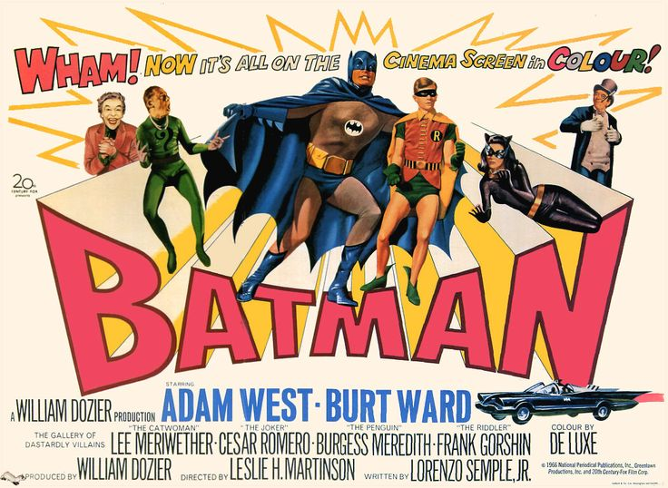 Awesome original Batman movie poster with all of the good guys and bad guys.  I love the color combinations, perfect for a fun cake.