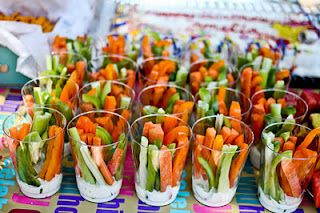 Love this! I think this is a better idea for cocktail hour than a whole huge display of veggies & people walking around with a plate. This is more conducive to mingling and being on your feet