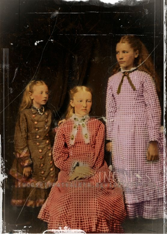 The Ingalls Girls - Mary Ingalls seated, Laura Ingalls (Wilder) right, and little Carrie Ingalls (Swanzey) left (colorized version)