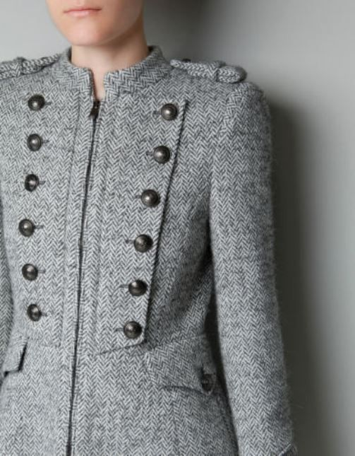 Zara Herringbone Wool Military Coat Buttons Long Blogger S