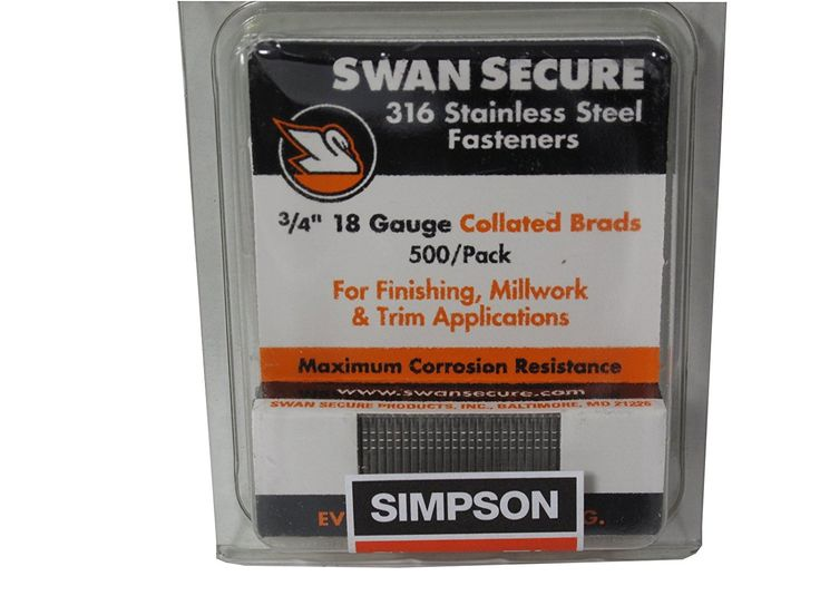 Simpson Swan Secure T18N075FNB 18-Gauge 316 Stainless Steel 3/4-Inch Brad Nails, 500 Per Box >>> Check this awesome product by going to the link at the image.
