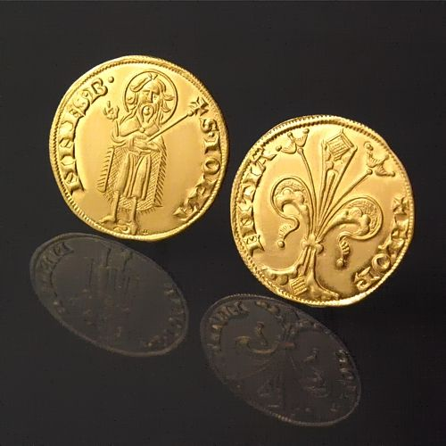 Florence Fiorino d'oro (Florin) 1252-1300 fine gold replica coin fine gold | 21 mm | 3.45 g  OBV + FLOR | ENTIA, Florentine lily. R • S • IOHA | NNES • B •, St. John standing facing, right hand raised, a scepter in...