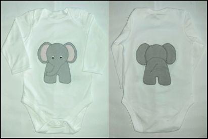 "Gecko Fabric Art - ""heads and tails"" applique elephant babygrow"