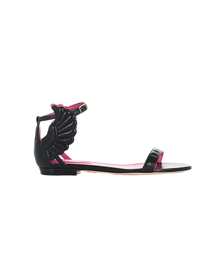 "Black sandals ""Malikah"" leather  with wings on the side leather sole front closure with adjustable strap Heel: 1 cm"