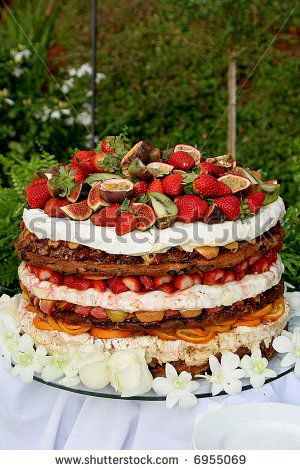 A layered fruit cake for a wedding