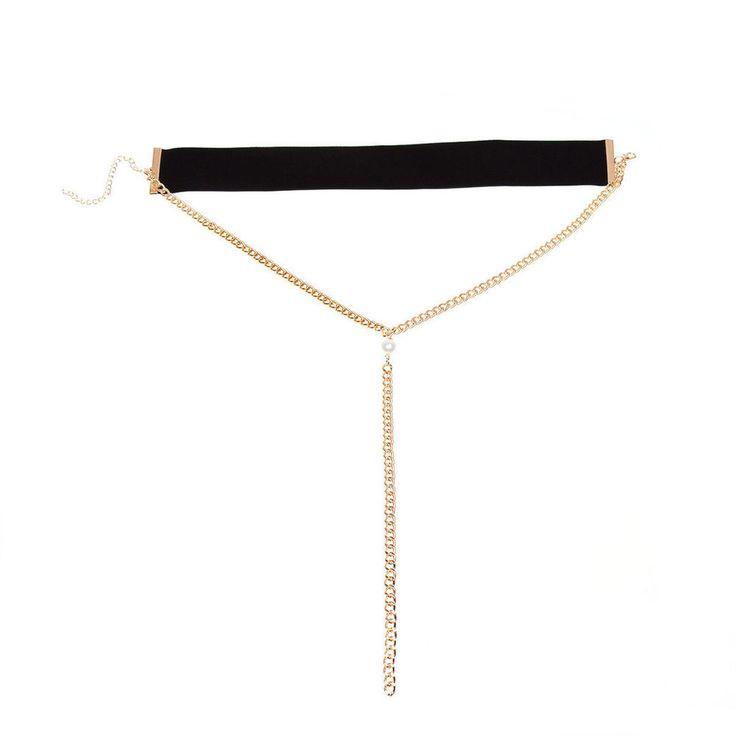 Edel Samt Halsband mit Kette Choker Halskette  | eBay