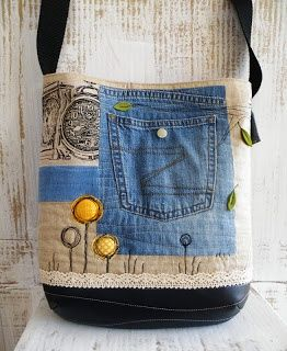 Cute bag with scraps and jeans pocket.