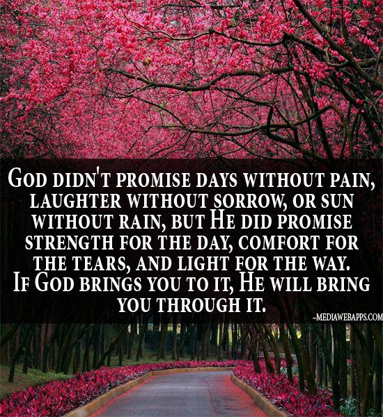God didn't promise days without pain, laughter without sorrow, or sun without rain, but He did promise strength for the day, comfort for the tears, and light for the way.