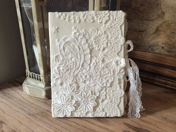 Vintage lace journal Victorian notebook Lace diary Vintage