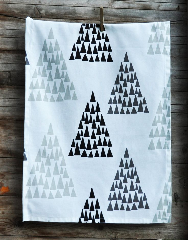 Kitchen towel white with printed trees in black, grey and light grey - tea towel…