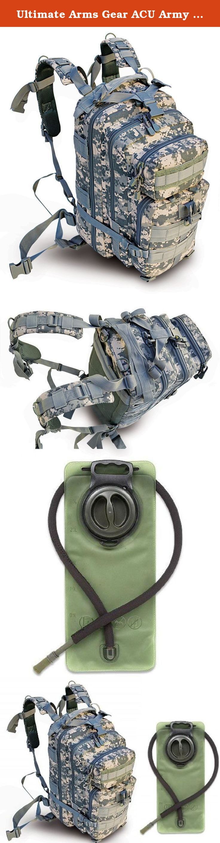 """Ultimate Arms Gear ACU Army Digital Camouflage Heavy Duty Combat Multi-Functional Equipment Survival Assault Transport Medium 17"""" Bug-Out Bag BackPack with Adjustable Slip Shoulder Detachable Length Straps MOLLE System Shooting Range Military Hunting Camping Law Enforcement Gear Rucksack Pack AMB3 + OD Olive Drab Green 2.5 Liter / 84 oz. Replacement Hydration Backpack Water Bladder Reservoir - Includes Hosing And Hands Free Bite Valve. Official Product of Ultimate Arms Gear, Brand…"""