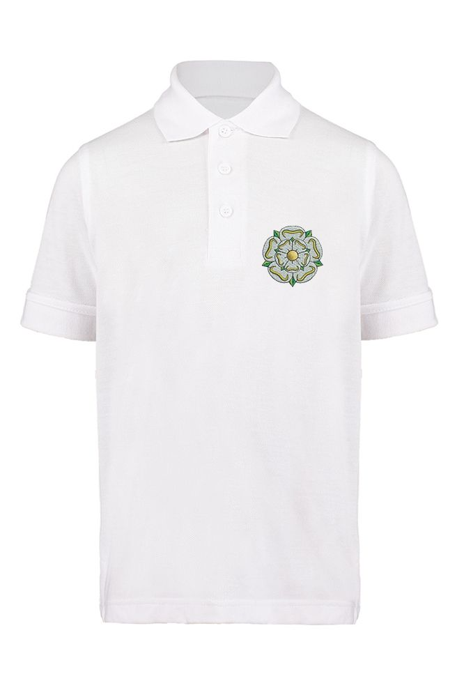 75f5e4d9 White children's polo shirt with the Yorkshire Rose embroidered on the left  breast. Available in sizes 3-12 years old. Also available in: Canary, ...