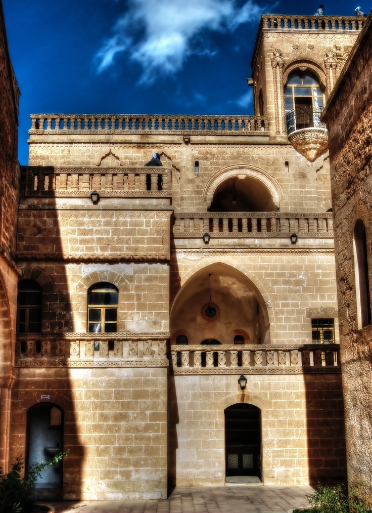 The old culture house at Midyat, Mardin, Turkey.  Turkish soap operas are often filmed in this house. We would not have known about it but for the young children of Midyat who told us to go and see it. #architecture