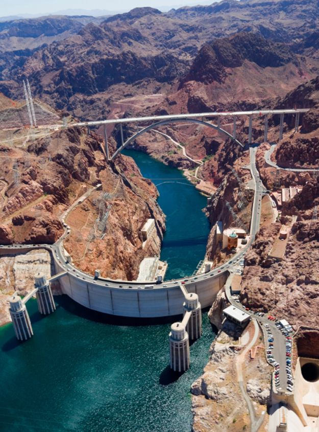 Hoover Dam 30 minute drive from Las Vegas a must see when your in town.  Located on the border of Nevada and Arizona.