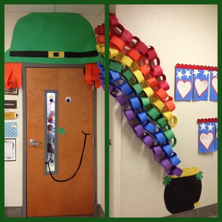 Leprechaun Classroom Visit Ideas ~ Our classroom door for st patrick s day bulletin board