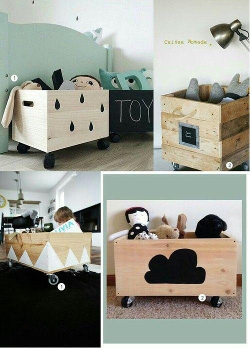 Coffre en bois pour jouets de bébé