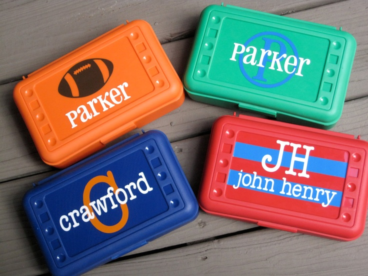 BACK TO SCHOOL-Personalized Pencil Box/ Art Supply holder. $7.00, via Etsy.