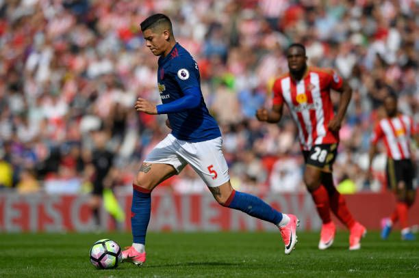 Marcos Rojo in action during the Premier League match between Sunderland and Manchester United at Stadium of Light on April 9 2017 in Sunderland...