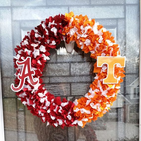 Alabama VS Tennessee Vols House Divided Wreath https://www.etsy.com/listing/227369072/alabama-vs-tennessee-house-divided