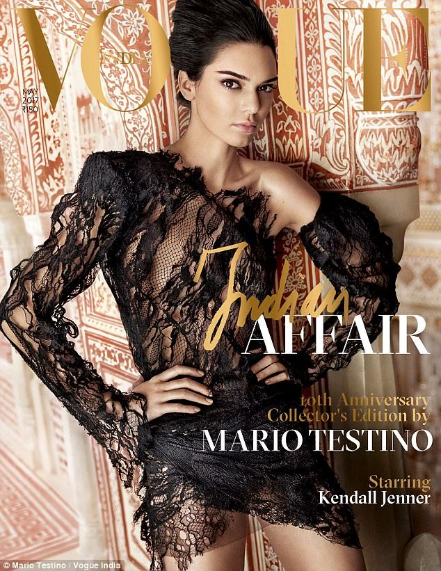 Cover girl: Kendall Jenner is back on the cover of VOGUE India this month, posing for a st...