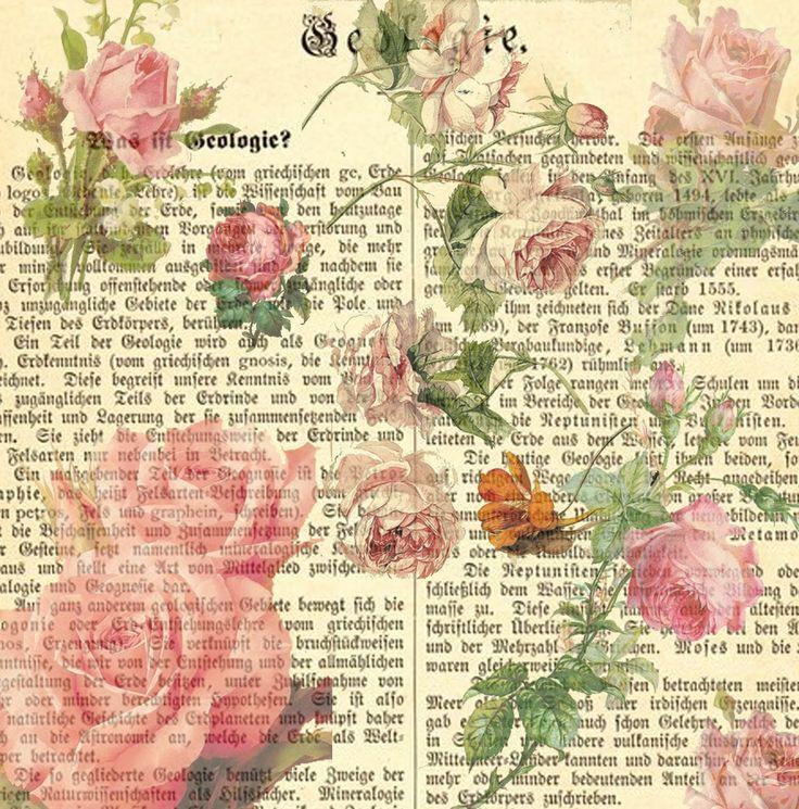 Free Decoupage Vintage Printables | 12 x 12 Inch Vintage Pink Roses Printable