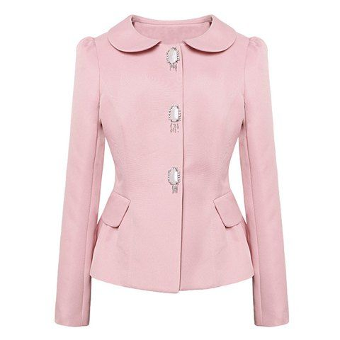 Stylish Long Sleeve Solid Color Single Breasted Women's Coat