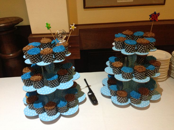 80th Birthday Cupcake Tower! Vanilla and Chocolate Cupcakes