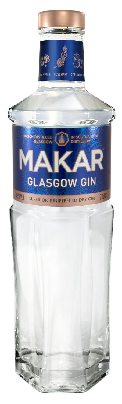 Makar Glasgow gin. 43 % ABV. Classic. Premium handcrafted gin produced in small batches in a copper pot still named Annie. Botanicals : juniper, angelica, cassia bark, liquorice, rosemary, coriander seeds, lemon peel, black peppercorn.