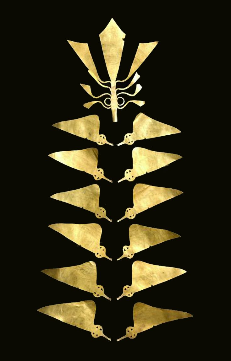 Indonesia ~ Nias Island, North Sumatra Province | Section from a man's headdress; gold.  ca. 19th century || The island of Nias off the western coast of Sumatra is known for its gold jewelry. This finely wrought gold spire was once part of a headdress worn by noblemen in southern Nias. The hat's fishtail palm shape evokes the Tree of Life, a motif common to the arts of Nias and many other Southeast Asian islands.