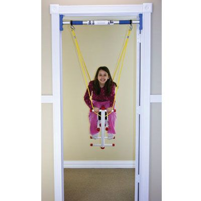Glider Swing [VS3789] - Up, up and away, they go on this Glider Swing for one. The Glider Swing offers all the fun of a park glider, but it's created for indoor use in any weather. Portable, too, so you can take it on visits to grandma's. Varying hand grip and foot rest positions let children of