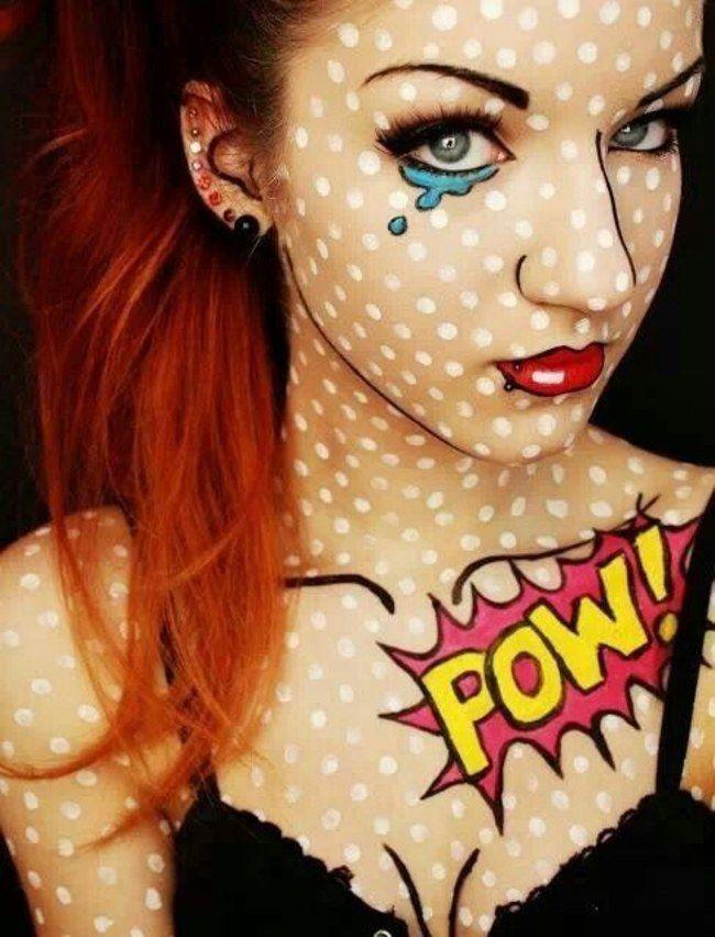 ♕Comic♕ Maquillaje de pop art. Lunares blancos en la piel, perfiles muy marcados, labios y cejas llamativos y lagrimas con bocadillo♥♥