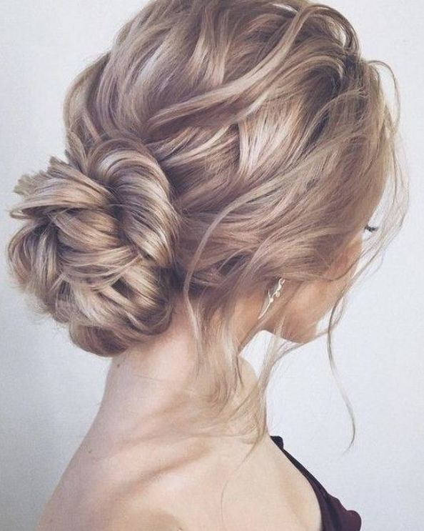 Messy Updo Wedding Hairstyle For Long Hair In 2020 Hair Styles Up Dos For Medium Hair Wedding Hairstyles