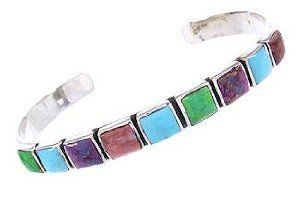 Southwest Silver And Multicolor Jewelry Cuff Bracelet YS61929 SilverTribe. $65.99