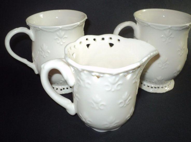 Skye McGhie Fine Porcelain Cream Lace Set of 2 Tall Coffee Cups + Creamer   eBay
