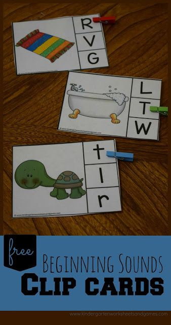 FREE Beginning Sound Clip Cards are such a fun way for prek, kindergarten, and f…