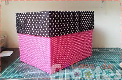 Como encapar caixas de papelão com tecido - parte 1 - A Lujinha - Casa de Fricotes